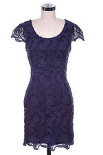 New Love Point Womens Fitted Navy Short Lace Dress with Cap Sleeve