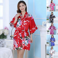 Silk Satin Short Kimono Robe  Gown Wedding Bridesmaid Sleepwear Bathrobe ZN