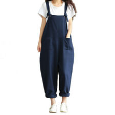 Womens Casual Strap Dungaree Jumpsuits Overalls Long Trousers Harem Pants ZN