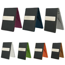 Fashion Men's Smart Faux Leather Money Clip Slim Wallet ID Credit Card Holder
