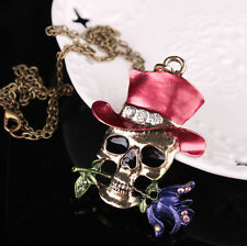 Brand New Silver Plated Pendent Jewelry Skull Flower Necklace Unisex Décor Gifts