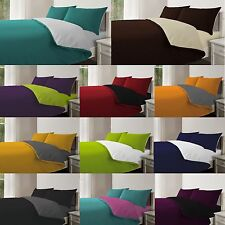 4Pc Complete Reversible Duvet Quilt Cover With Fitted Sheet & Pillowcase Bed Set