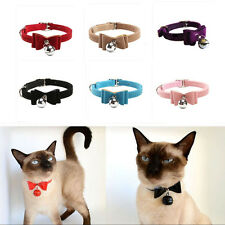 Pet Puppy Kitten Collar Velvet Fashion Cat Safety Bowtie With Bell Bow Tie Neck