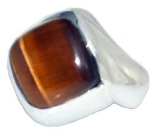 Mens Sterling SILVER Tigers Eye Ring, 925 Natural Gem, Gents Sizes M,6 to Z+5,15