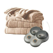 Sunbeam Heated Electric Blanket Channeled Microplush Queen Size Sand Tan