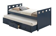 Blue Twin Trundle Bed w/ Drawers Bedroom Furniture Home Guest Room Boys Girls