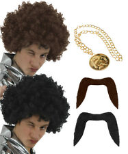 MENS 70S KIT WIG MOUSTACHE AND MEDALLION NECKLACE AFRO HIPPY FANCY DRESS COSTUME