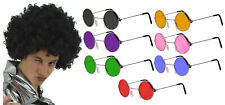 MENS 70S BLACK AFRO WIG AND ROUND HIPPY GLASSES SPECS FANCY DRESS COSTUME KIT