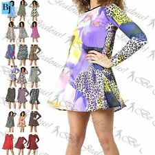 Womens Ladies Stretchy Celebrity Printed Long Sleeve Skater Mini Swing Dress