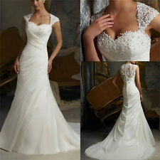 Mermaid White/ivory Organza Wedding dress Bridal Gown size 6-8-10-12-14-16-18