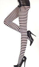 7471 Costume Tights Striped Opaque Pantyhose Plus 1X Queen Black White Stripes