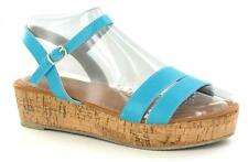 LADIES SPOT ON AQUA OPEN TOE SANDAL WITH WEDGE HEEL F10044
