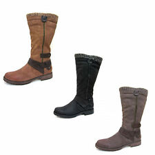 Ladies Spot On Knee High Boots with Knitted Collar Style F50329