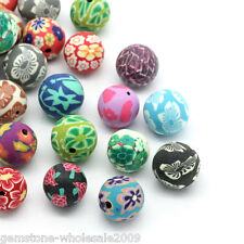 "Wholesale W09 Polymer Clay Beads Round Flower Mixed 14mm( 4/8"") - 15mm( 5/8"")"