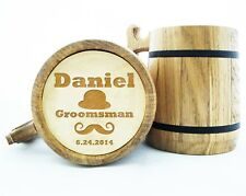 Personalized Wooden Beer Mug Groomsmen Gift Best Man Wood Beer Mugs Engraved K9