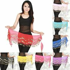 Women Belly Dancer Costume Hip Scarf Wrap Sequins Coins Belt Chiffon Mini Skirts