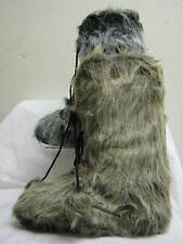 Mens 2 Tone Faux Fur Pull On Snow Boots with Lace Up & Pom Pom Detail A3014