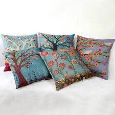 44cm Flower Tree Cotton Linen Throw Pillow Case Cushion Cover Pillow Decor