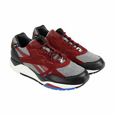 Reebok Bolton DV Mens Black Red Leather Athletic Lace Up Running Shoes