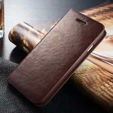 Genuine Real Leather Cover Flip Card Wallet Stand Skin Case For iPhone/Samsung C