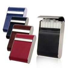 Genuine Leather+Stainless Steel Smoking Cigarette Case Box Hold 16Pcs Cigarettes