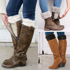 Crochet Long Sock Winter Warm Leg Socks Women Fur Boots Cuffs Sock