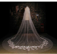 Luxury 2T Cathedral wedding Veil Lace applique Edge white ivory Bridal Veil comb