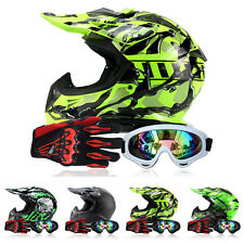 Zebra Unisex Motorcycle Off-road Racing Full Face Helmets +Goggles+Gloves Z16B8