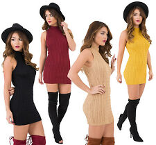 Women Ladies Celebrity Inspired Round High Neck Ribbed Knitted Bodycon Dress Top