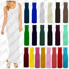 Women Long Racer Muscle Back Sleeveless Ladies Summer Hot Jersey Maxi Dress 8-26