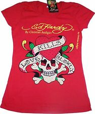 Ed Hardy Women's Love Kills Slowly Skull Red Rhinestones Short Sleeves T-Shirt