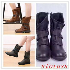 England Women Real Leather Vintage Boots Buckle Casual Mid Calf Boots Low HEEL