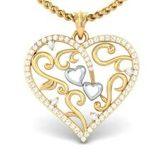 0.37ct IJ SI Natural Diamond Lovely Gift Filigree Heart Pendant 18K Gold
