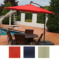 Sunnydaze Steel Offset Solar Patio Umbrella w/ Cantilever - Multiple Colors