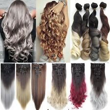8Pcs 18Clips Real Thick Clip In Hair Extensions As Remy Human Hair Long Wavy Tkl
