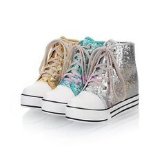 Womens High Top Trainer Sequins Lace Up Plimsoll Sneakers Fur WInter Boots Shoes