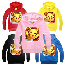 Pokemon Kids Boy Girls Hoodies Pikachu Sweatshirts Cosplay Fleece Jacket Clothes