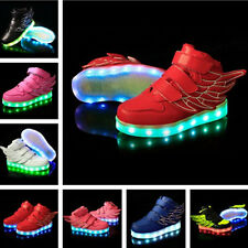 Boys Girl Kids Wing LED Light UP Shoes Sneakers Kids Flats Shoes Casual Sports