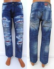 Men's JORDAN CRAIG D/Blue suede backed shredded distressed straight jeans JE6803