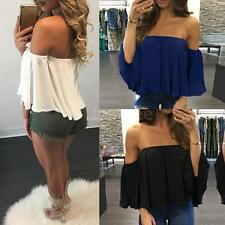 New Women Off The Shoulder Casual Loose Short Sleeve T-Shirt Tops Blouse N9O5