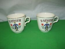 Pair of Father Porcelain Coffee Cups Mugs Dinnerware Gold Trim