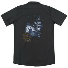 Batman Arkham Asylum Arkham Killer Croc (Back Print) Mens Work Shirt BLACK
