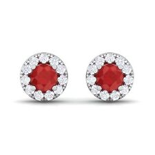 Red Ruby FG SI Diamond Gemstone Womens Halo Stud Earring 14K Gold