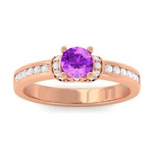Purple Amethyst FG SI Channel Diamonds Engagement Ring Women 10K Gold