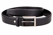 Italian leather belt Men's belts online Black saffiano Casual dress waist Tall