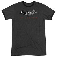 Arkham City Batman Logo Mens Adult Heather Ringer Shirt Charcoal