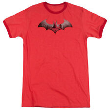 Arkham City Batman In The City Mens Adult Heather Ringer Shirt Red