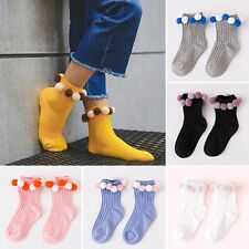 Newly Kids Socks Colored Plush Balls Children Ankle Socks Cotton Blend Hosiery