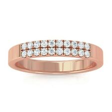 0.19ct FG SI Natural Round Diamonds Womens Classic Wedding Band 18K Rose Gold