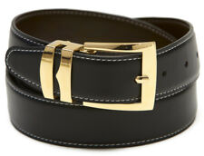 Reversible Belt Wide BLACK / Charcoal with White Stitching Gold-Tone Buckle
